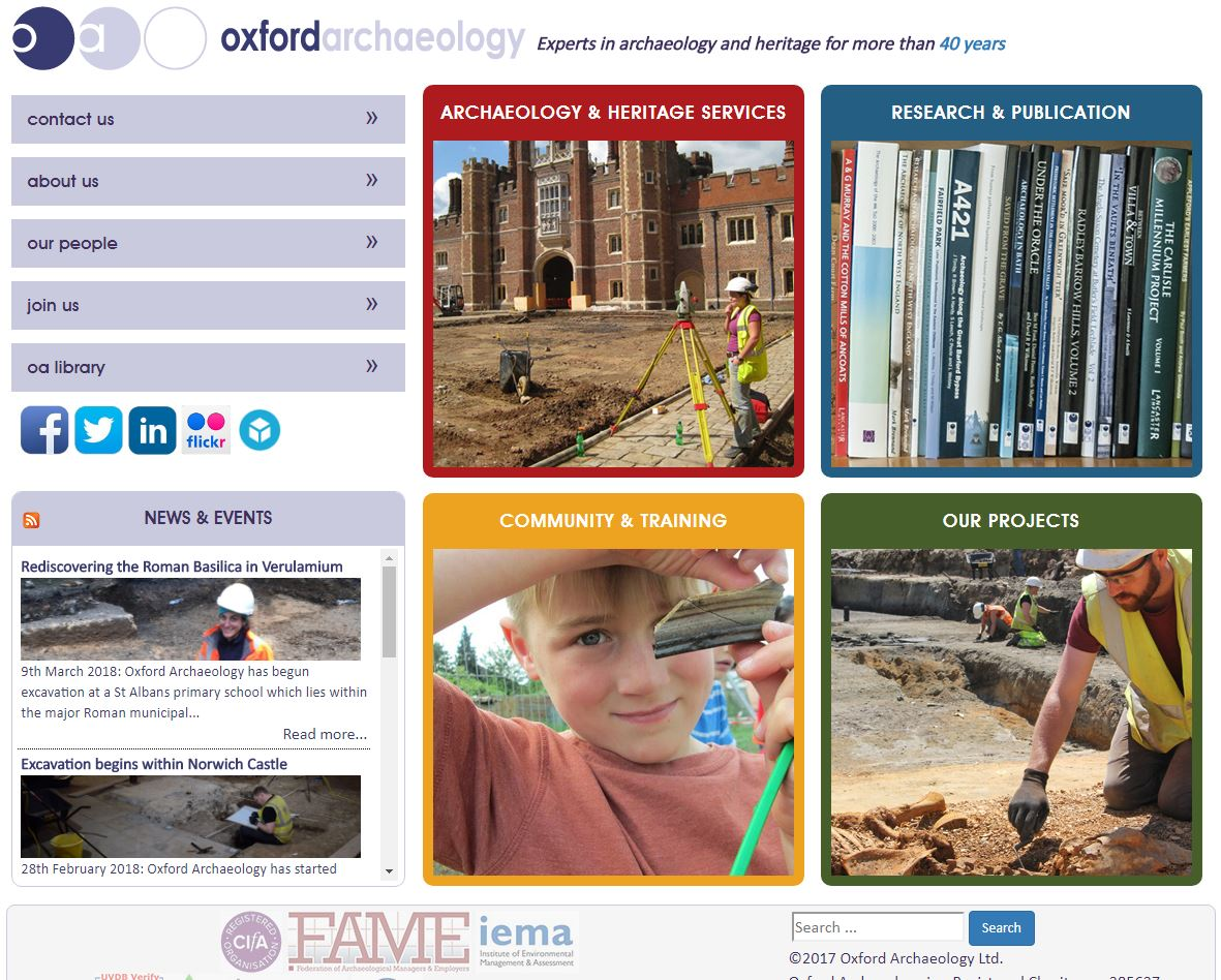 Oxford Archaeology website